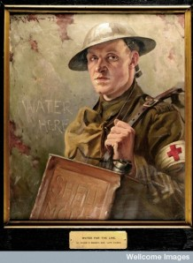 L0034643 World War I: an R.A.M.C. bearer supplying water to the